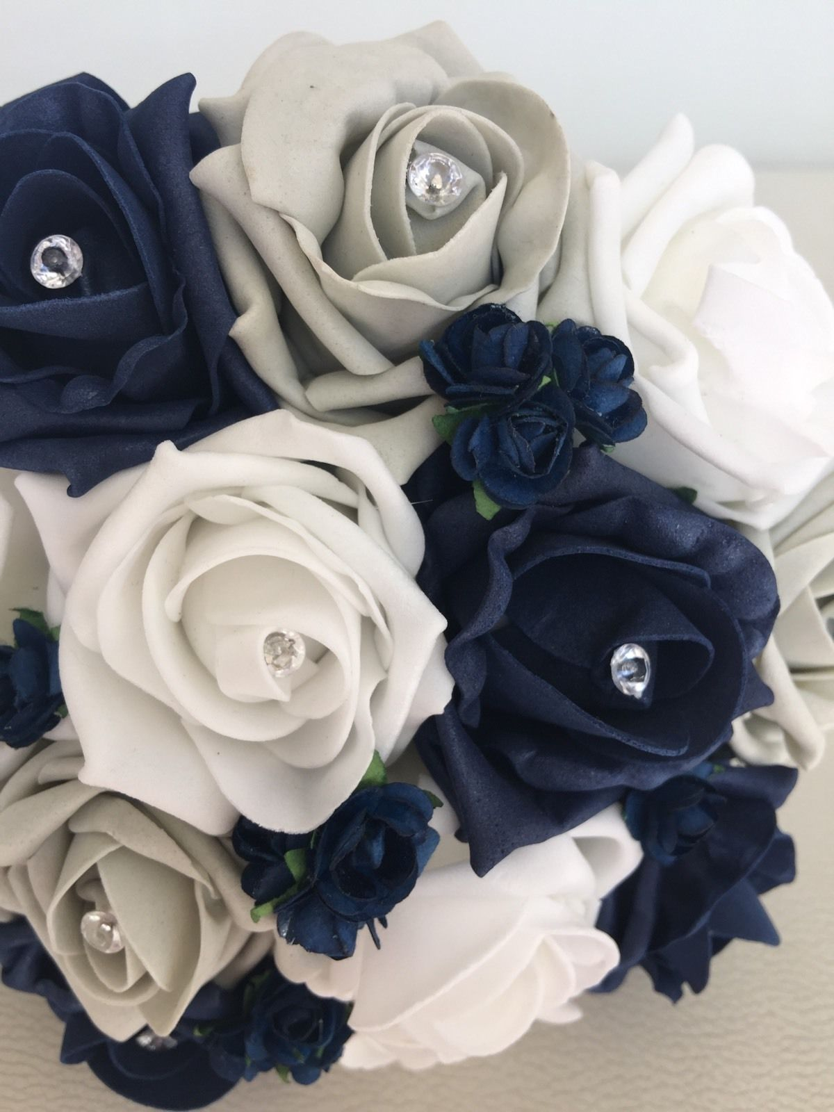 Wedding Flowers Artificial White Navy Silver Foam Rose Bridesmaid